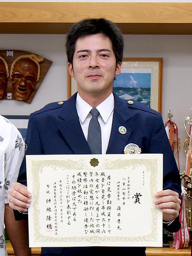 嶺井巡査長(大川交番)に地域課長表彰 450人中2位の評価