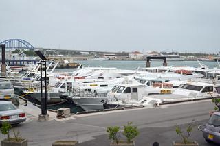 台風の高波により、離島を結ぶ全便が欠航となった。離島桟橋に固定された旅客船=29日午後6時ごろ