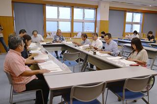 石垣市障がい者自立支援協議会の第2回会議で、5専門部会の課題や要望について協議する委員ら=30日午後、市健康福祉センター