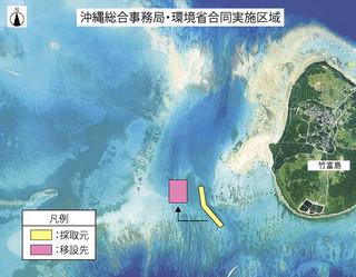 竹富南航路しゅんせつ工事に伴うサンゴ群集の採取海域と移設先の海域