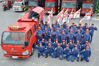 前線で活動する石垣市消防団員