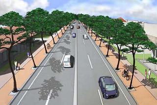 4車線となるアクセス道路Ⅰ区(平得交差点~タナドー線)の完成予想図