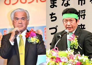 大浜長照氏(左)・中山義隆氏(右)=21日夜