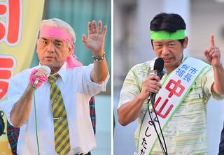 最後の訴えで支持を呼びかける大浜長照氏(左)と中山義隆氏(右)