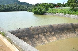 記録的大雨で提体から水があふれている石垣ダム=8日午後3時20分