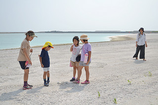 チャレンジデーに合わせて開放された人工ビーチ=28日午後、南ぬ浜町