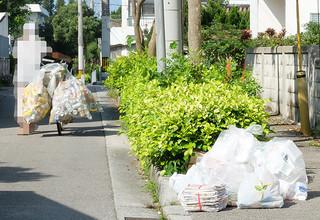 資源ごみ収集日、市街地を回ってアルミ缶を収集するお年寄り「生活のため」と訴える=14日午前、石垣市内。写真は一部加工