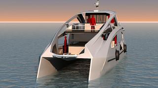 石垣港を拠点に実証運航が予定されているEV船のイメージ(㈱VIBE提供)