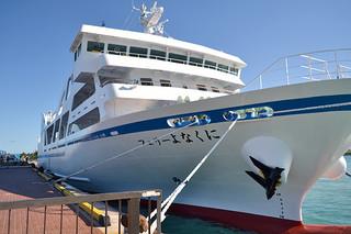 与那国・石垣間に就航する新造船「フェリーよなくに」=17日夕、石垣港