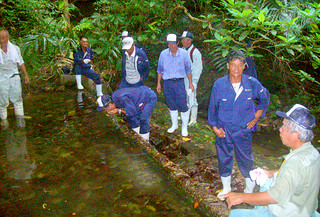 西表島の水源地を視察する竹富町議会議員ら=(資料写真)
