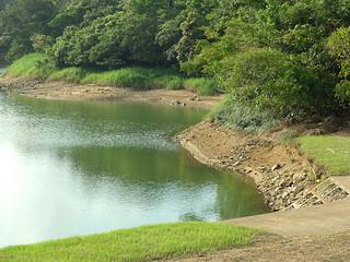 貯水量が18万㌧まで下がっている石垣ダム=15日夕