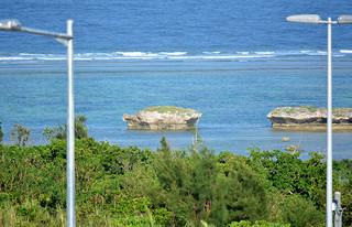 ウミガメの姿をした「亀石」=18日夕、南ぬ島石垣空港展望デッキから撮影