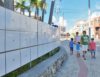 石垣市内に設置されている選挙ポスター掲示場。立候補届け出の後、ポスターが張り出される=30日夕、730交差点