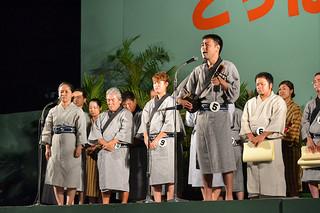 2014年度とぅばらーま大会で最優秀賞に輝いた比屋根祐さん=6日夜、新栄公園