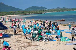 650人がビーチクリーンを行った「第6回海・LoveLoveフェスタin石垣島2014」=19日午前、吉原ヒュッタ海岸