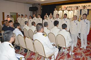 新造巡視船「たけとみ」「なぐら」の乗組員を紹介した就役披露式=25日午後、南の美ら花ホテルミヤヒラ