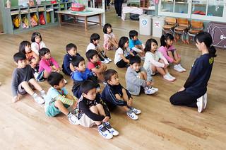 現在、4歳児と5歳児の教育が行われている石垣市立みやまえ幼稚園。来年4月から3歳児も受け入れることになる=4日午前