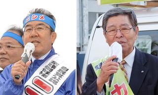 左から街頭演説で支持を訴える西銘恒三郎氏と仲里利信氏