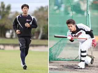 バント練習に打ち込む大嶺翔太(右)。ランニングで汗を流した大嶺祐太(左)=4日午後、市中央運動公園野球場