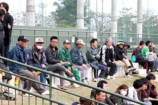 陽気と曜日に恵まれ、1500人が来場した千葉ロッテマリーンズの石垣島キャンプ=7日午後、市中央運動公園野球場