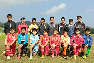 第16回桑江朝幸杯県地域ジュニアサッカートレセン交流大会に出場する八重山選抜メンバー=チーム提供