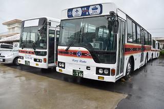 路線バスの運行許可が交付され、6月初旬に運行する見通しのカリー観光バス=23日午前、同社石垣営業所