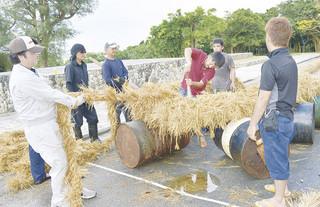 大綱を作る「ツナマカシ」で、金属バットでたたきながら綱を締める作業を行う大浜地域の住民ら=18日午後、崎原道路