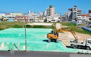 埋め立て工事が進む新栄町船揚場(資料写真)