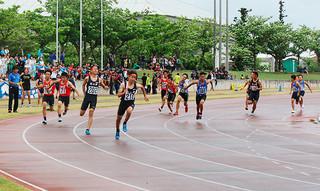 八重山中学校陸上競技大会の最終種目となった共通男子4×100㍍リレー=27日午後、市中央運動公園陸上競技場