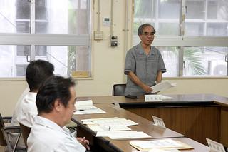 指定管理者制度を導入している公共施設を評価する第1回市指定管理運営評価外部委員会=29日午後、市役所第2会議室
