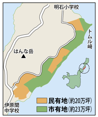石垣島ハイビスカスゴルフカントリーがゴルフ場建設を目指している民有地(右側)=5日午前、旧伊原間牧場内