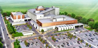 新八重山病院の完成予想図。2度の入札不調で17年度開院に遅れが出る可能性も出ている