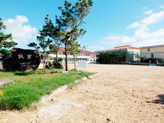 1月に新校舎建築工事に着手する登野城小学校。旧校舎跡には広大な更地が広がる=21日午後