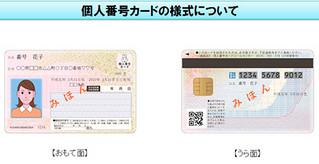 交付される個人番号カードの見本(総務省ホームページより)