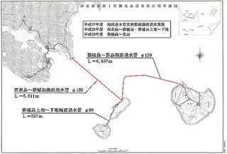 2017年度までに新たな送水管の敷設が計画されている西表東部第1区のルート(竹富町水道課提供資料)