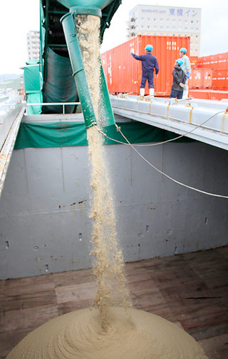 「一心丸」に積み込まれる粗糖。甘い香りが漂った=5日午前、石垣港