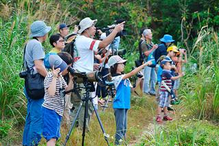 カンムリワシ観察会に参加した家族連れ=14日午前、石垣市名蔵の水田地帯