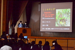 生徒たちが日ごろの研究成果を発表した八重山農林高校の農業クラブプロジェクト発表大会=25日午前、同校体育館