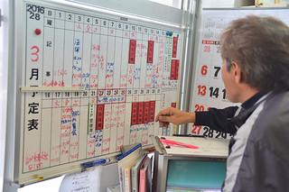スケジュールボードに赤く記された自衛隊機の利用予定を確認する職員=22日午後、与那国空港内町空港課