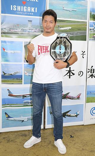 7月24日にISKA世界ライトミドル級タイトルマッチに挑戦することが決定した廣虎選手=27日午後、市役所