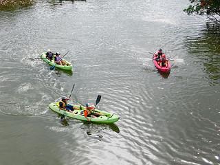後良川でカヌー体験を行う竹富町内の小学校5年生ら(町教育委員会提供)