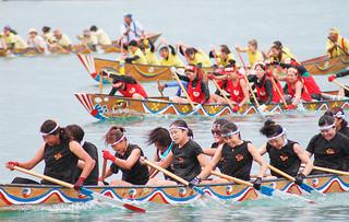 140組1400人が参加した石垣市爬龍船競漕大会の団体ハーリー。息を合わせてかいを漕いだ=8日午前、石垣漁港
