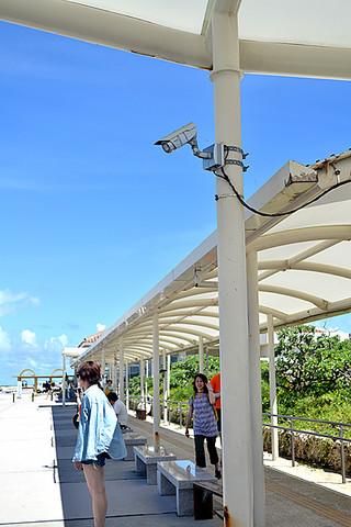 竹富港に設置されている防犯カメラ