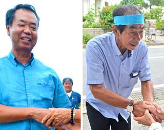 有権者と握手を交わし支持を訴える川満栄長氏(左)と西大舛髙旬氏(右)