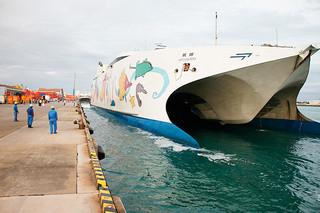 11月の就航を予定しているナッチャン・レラ。CIQの実施場所の確保が課題となっている=5月14日夕、石垣港