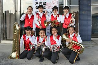 第41回沖縄県吹奏楽アンサンブルコンテストで金賞に輝いた登野城小器楽クラブのメンバー=10日、うるま市民芸術劇場