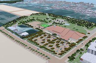 石垣市役所新庁舎のイメージ(中央右)=石垣市新庁舎建設室提供