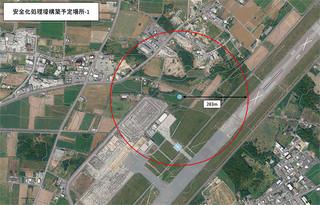 2月1日に行われる不発弾処理の避難対象範囲(石垣市防災危機管理室提供)