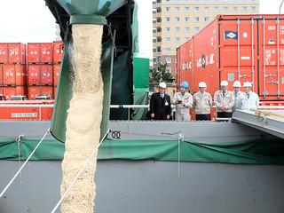 石垣島製糖や船会社の関係者が見守る中、運搬船に積み込まれていく粗糖=26日午前、石垣港