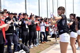 ラミゴ・モンキーズのチアガール「ラミガールズ」(右)を前に軽快な応援をみせる台湾から訪れたファン=11日午後、市中央運動公園野球場